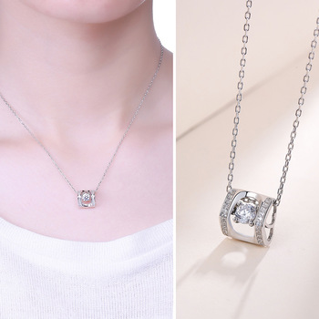S- S925 Sterling Silver rotary double headed mosaic chain fashion silver necklace explosion silver chain