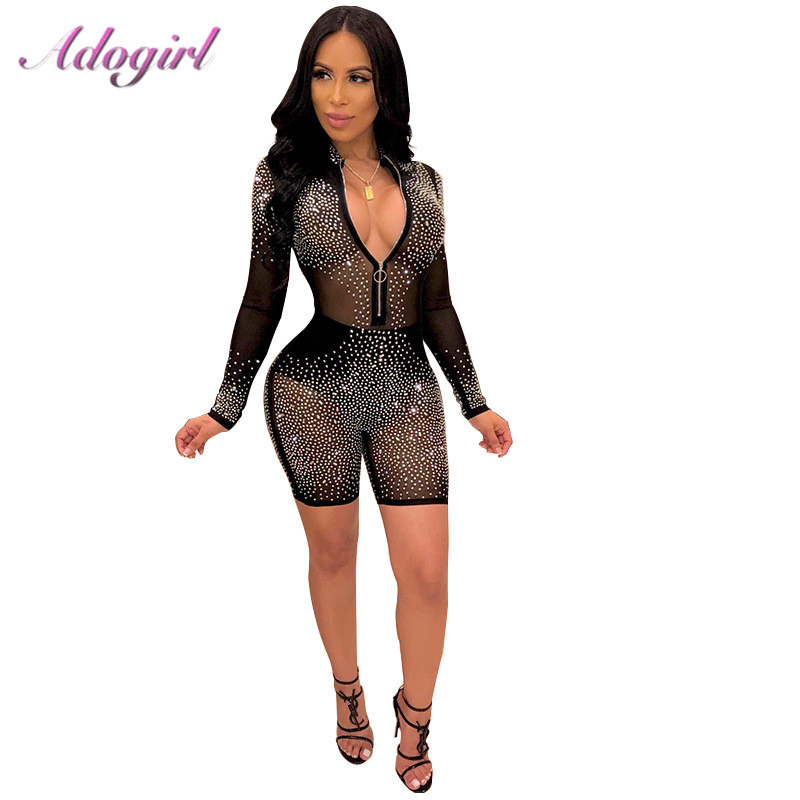 Bodycon Jumpsuit Rompers Outfits Female Overalls Club Sheer-Mesh Diamonds Party Night title=