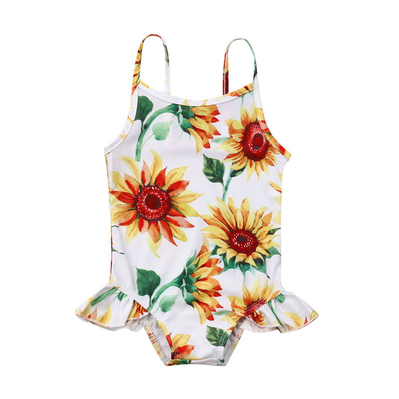 Focusnorm Newborn Baby Girls 0-24M Sunflower Swimwear Sleeveless   Romper   Beachwear Bathing Summer Clothes