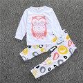 Niños Impreso Búho largo-manga ropa de hogar causal niños Disfraces 2 unids/set boutique de ropa
