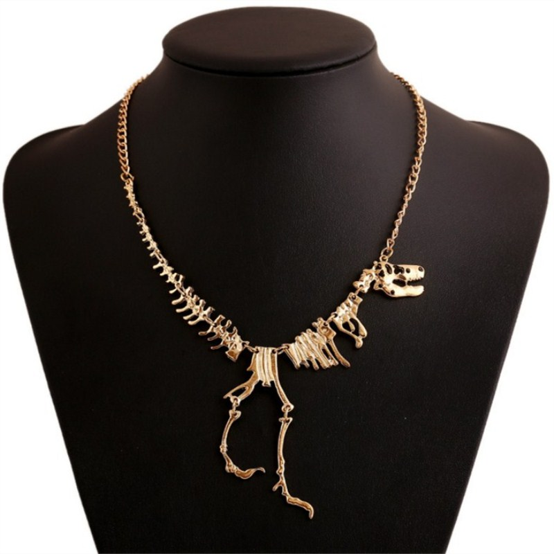 Popular Necklace Fashion jewelry Gothic Tyrannosaurus Rex Skeleton Dinosaur Bone Pendant Necklace