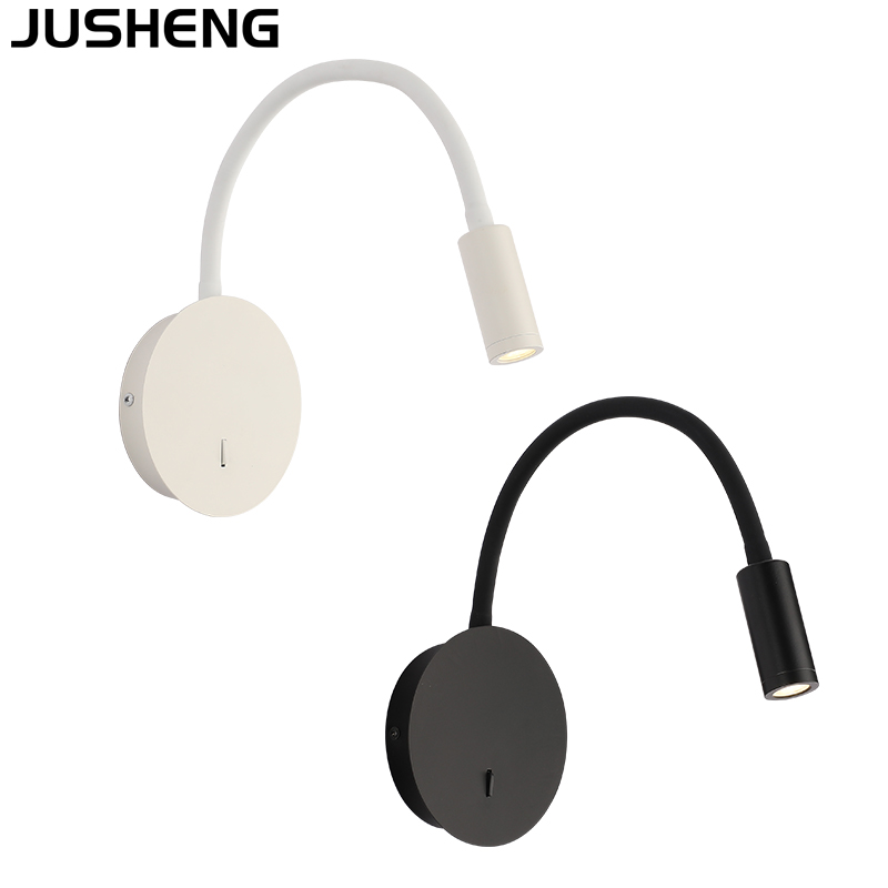 JUSHENG  Modern LED 3W wall lamp for bedroom living room bedside lamp black white adjustable wall lights with switch