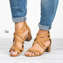 Discount Europe Summer 2019 New  Women Sandals High-heel Cross-Strap Fashion Casual Shoes Woman Med (3cm-5cm) Plus Size 35-43 egonery summer 2018 new flock cross strap lace up and zip med square cover heel solid concise fsahion casual women sandals