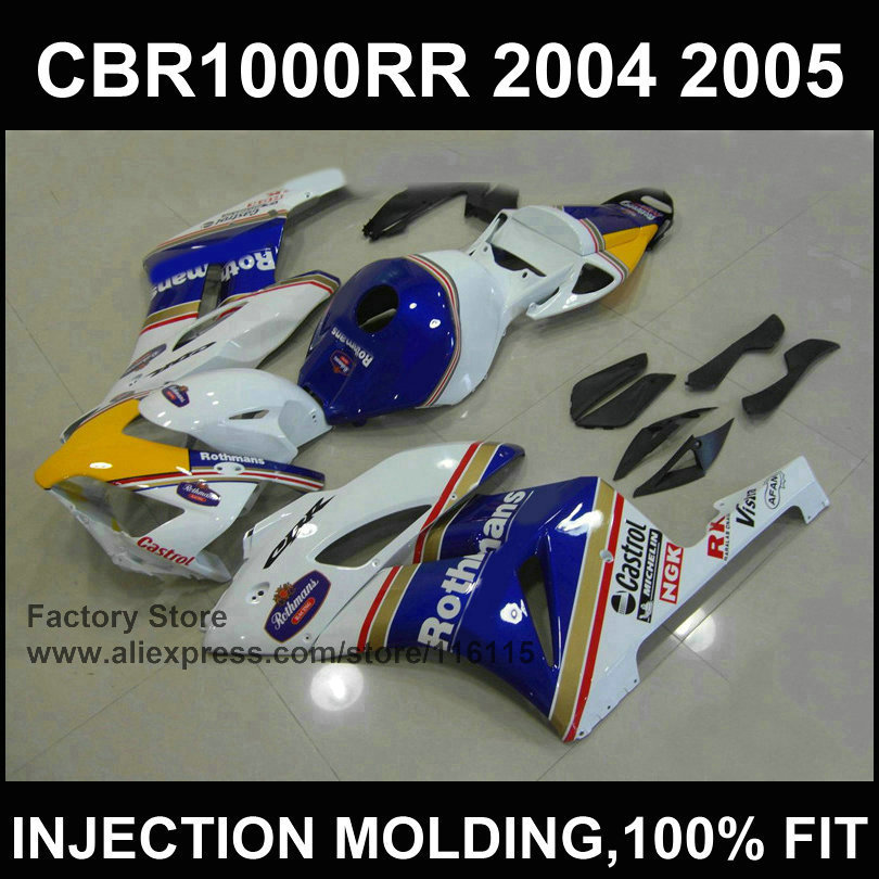 White blue castrol fairing kit for   CBR 1000RR Injection mold fairings 2004 2005  cbr1000rr 04 05 ABS plastic bodyworks high quality electric cooker plastic injection mold