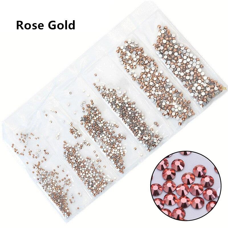 31 цвет, SS3-SS10, разные размеры, Хрустальные стеклянные стразы для дизайна ногтей, для 3D дизайна ногтей, стразы, украшения, драгоценные камни - Цвет: Rose Gold