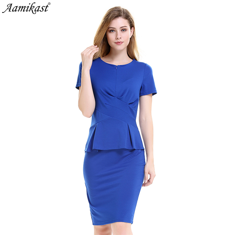Aamikast Fashion Ruffles Front Zipper Dress Solid Women Elegant Sexy  Straight Dresses Office Lady Vintage Slit Vestidos D0679-in Dresses from  Women s ... 464197c3eb7c