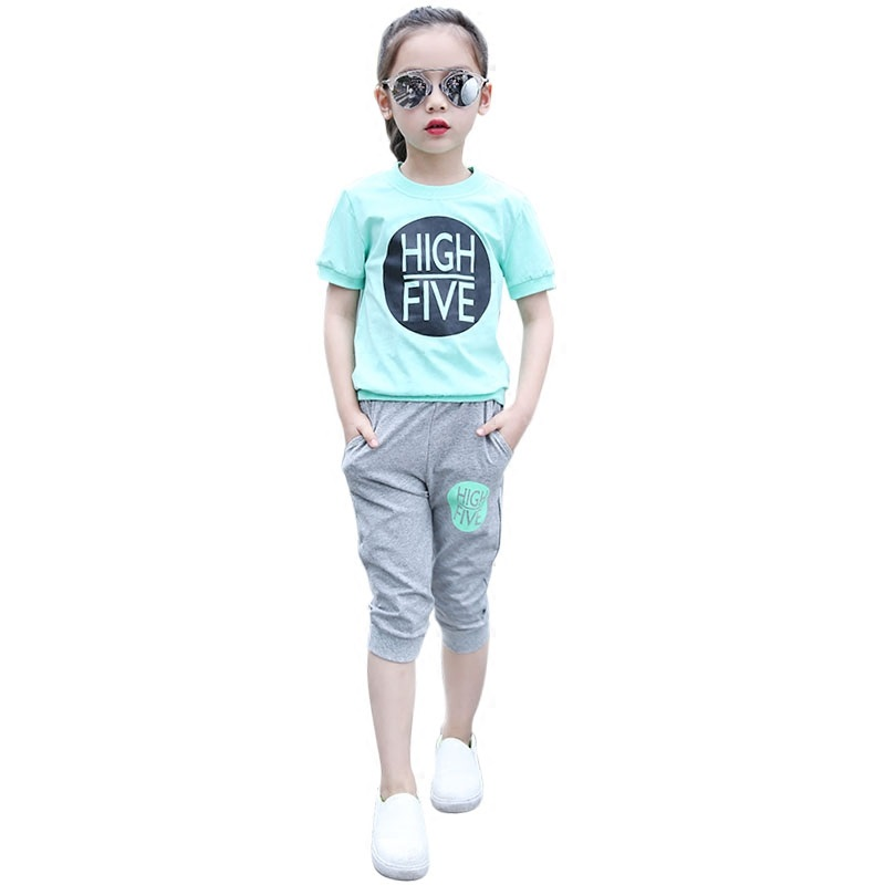 Summer cotton Girl Sets 2018 New Children Short sleeve + pants 2Pcs Set Letter Kids Girls Sports Suit Kids Clothing Age 5-14T