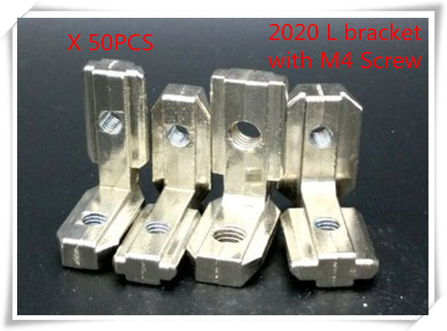 50pcs/lot T Slot L Shape Type 90 Degree  2020 Aluminum Profile Accessories Inside Corner Connector Bracket With M4 Screw 10 pcs lot silver color metal corner brace right angle l shape bracket 20mm x 20mm home office furniture decoration accessories