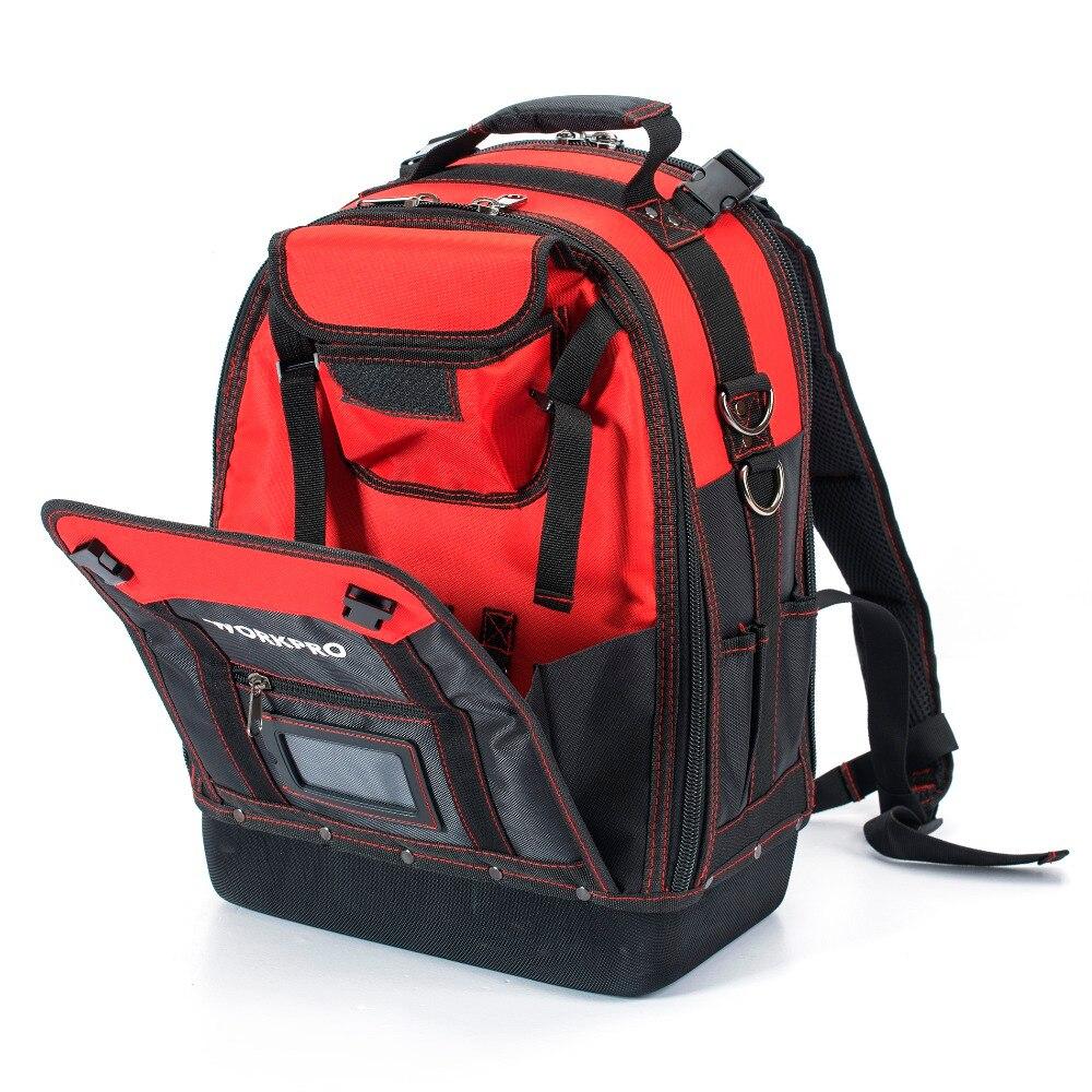 כרטיסי טלויזיה ועריכה WORKPRO ניו כלי Backpack סוחר מארגן תיק תיקי כלי Waterproof תרמיל רב תכליתי עם 37 כיסים (3)