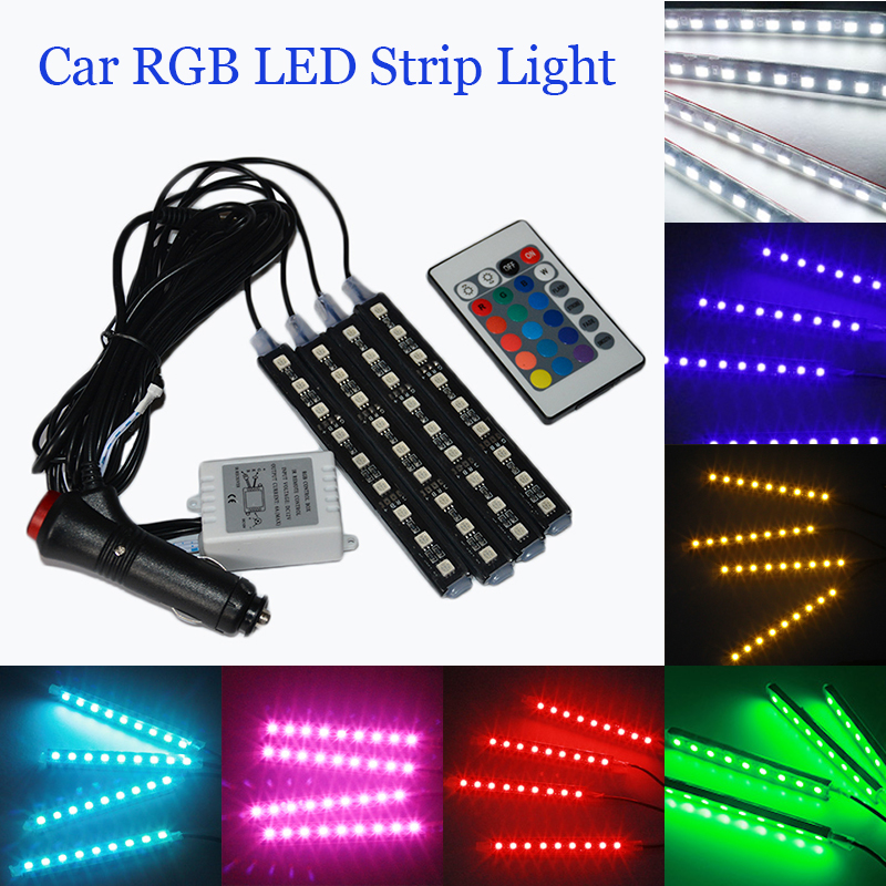 4 pcs Luzes de Tira LED Carro Colorido RGB LED Strip Light Car Styling Atmosfera Decorativa Lâmpadas Interior Do Carro Luz Com Remoto