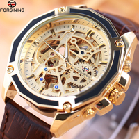 FORSINING Business Men Automatic Mechanical Watch Leather Strap Multilateral Bezel Skeleton Dial 3D Design Fashion Wrist Watches