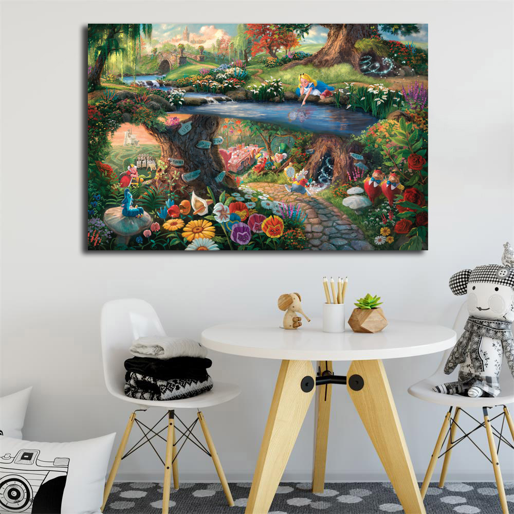 Alice In Wonderland Canvas Painting By Thomas Kinkade Posters Prints Wall Art Picture Modern Home Decoration Kid Christmas Gifts statue