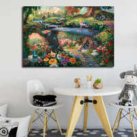 Alice In Wonderland Canvas Painting By Thomas Kinkade Posters Prints Wall Art Picture Modern Home Decoration Kid Christmas Gifts