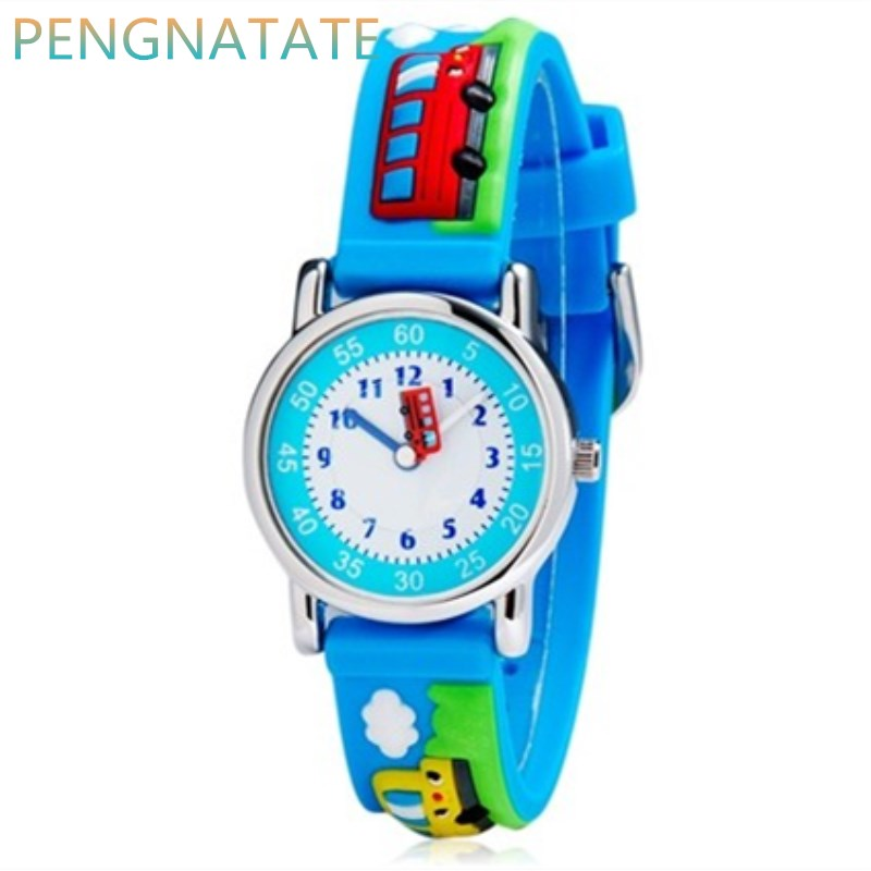WILLIS Fashion Quartz Children Watch Diversity Cartoon Buses 3D waterproof Watches Bright Color Stylish jelly Watches PENGNATATE