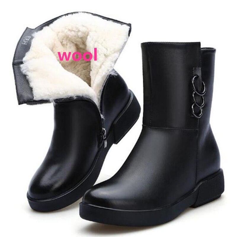 Donne Scarpe Antiscivolo Nuovo Suola Confortevole Caldo Di Lana Pelle Gomma  Vera 2018 Neve 002 Un Da 001 Pelliccia Donna Inverno ... 172ab29b57e