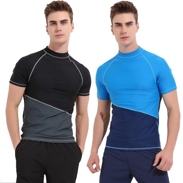 85f8b73960b91 Mens Rashguard UPF 50+ Swim Shirt Men's Rash Guard Swimming Tee Short  Sleeve Sun Protection Tops Compression Color Blocking