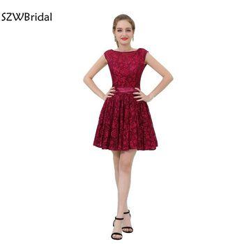 1347220e7 Moda encaje rojo cóctel Vestidos 2019 de la longitud de la rodilla Vestidos  de Cocktail Formal vestido de fiesta curto