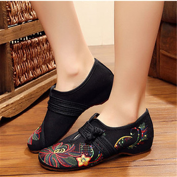 CEYANEAO New Chinese Style2019 Spring Summer Fashion Women Flat Old Peking Lotus Flower Embroidered Shoes Soft Sole Comfortable 1