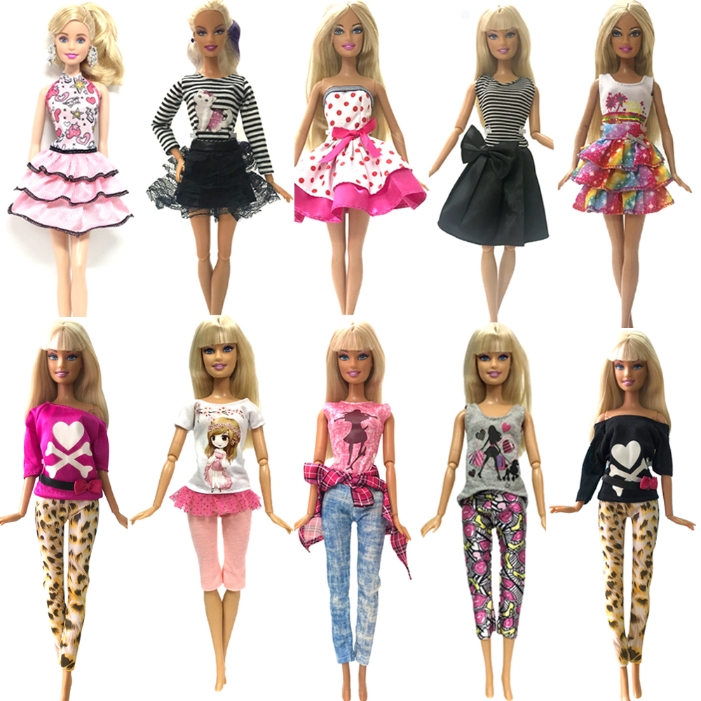 NK Newest One Set Top Doll Dress Clothes Leisure Fashion Skirt Party Gown For Barbie Doll Accessories Girl Best Toys Gift JJ XQ1