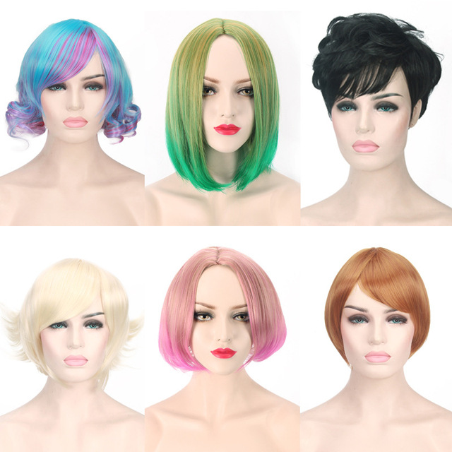 94e48d7edeb 2018 Lolita Harajuku Short Ombre Wig Black Blonde Brown Heat Resistant  Synthetic Hair Anime Cosplay Party Wigs For Women