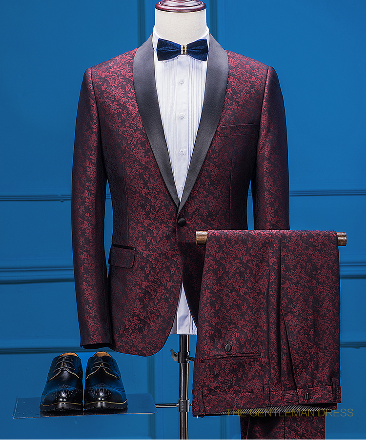 Latest Coat Pant Designs Burgundy Pattern Shawl Lapel Formal Wedding Suits For Man Custom Slim Fit 2 Piece Terno Jacket+Pants213