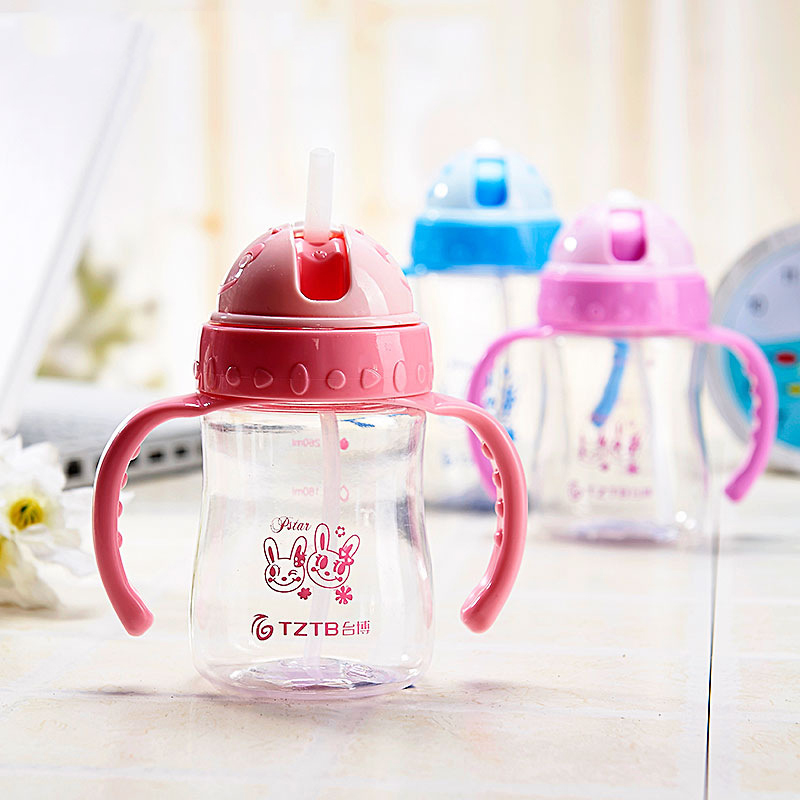 260ml Cute Baby Cup Kids Children Learn Feeding Drinking Water Straw Handle Bottle Training Cup Baby Feeding Cup