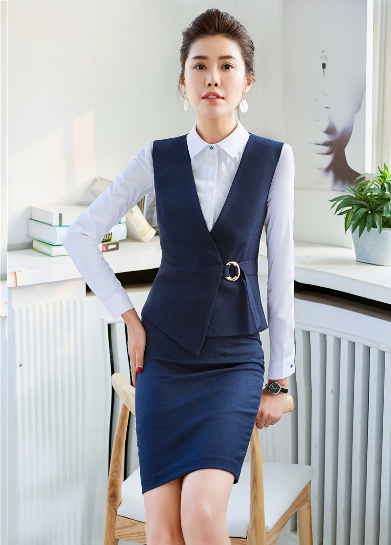 Begeistert Mode Navy Blau Weste Frauen Business Anzüge Zwei Stück Rock Und Top-sets Damen Arbeit Tragen Westen Ol Stil