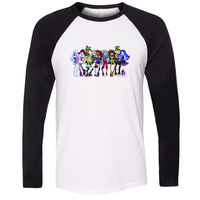 IDzn Fashion Monster High Group Pattern Patchwork Long Sleeve T Shirt Cartoon Graphic Funny T Shirt