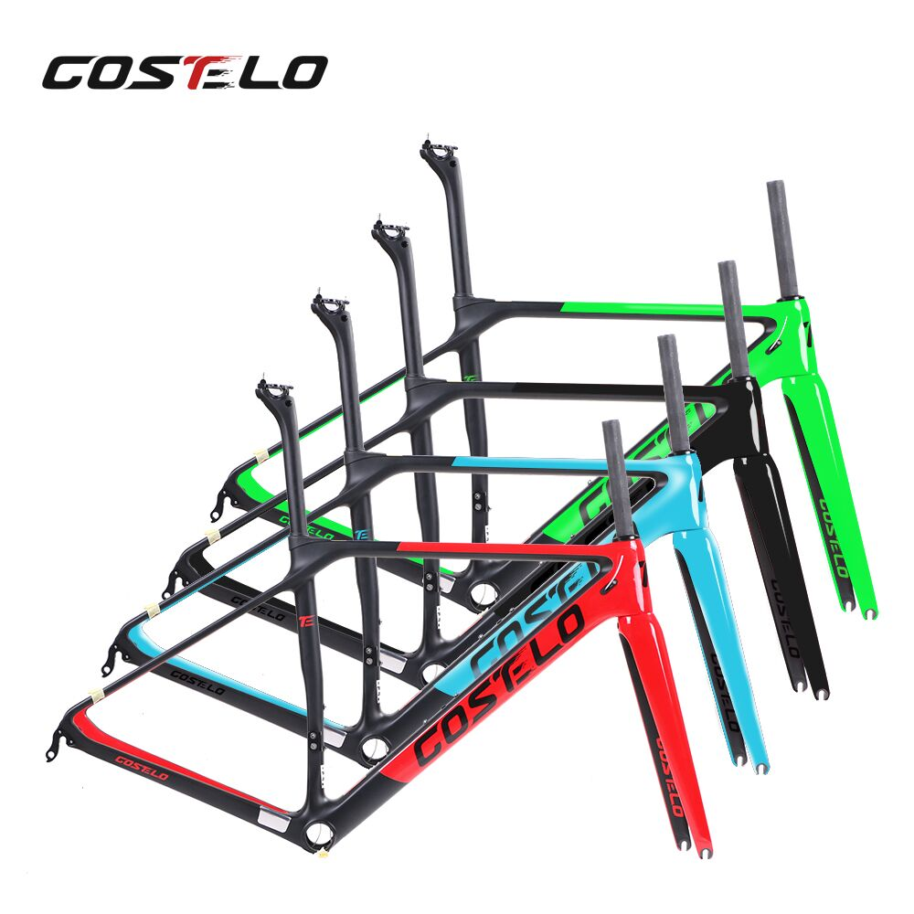 все цены на 2017 COSTELO Factor o2 road bike cycling carbon frame,fork ,headset ,clamp,seatpost Carbon Road bicycle Frame 880g free shipping онлайн