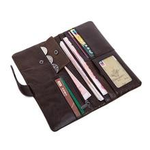 Weduoduo New Wallet  Luxury 100% Top Genuine Cowhide Leather Men Long Coin Purse Vintage Designer Male Carteira Wallets