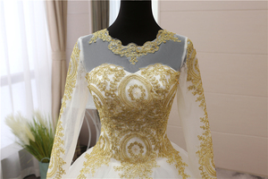 Image 5 - Vintage Gold lace Appliques Embroidery Sweetheart White Blue Red Full Sleeve Fashion Muslim Wedding Dresses brides plus size 75