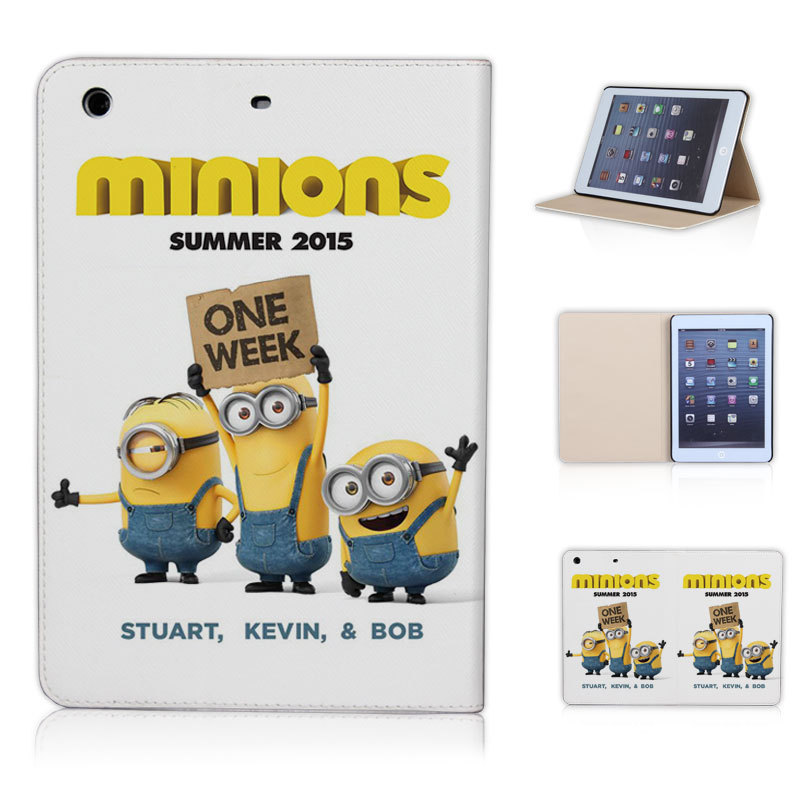 NEW arrival summer Minions Stuart Kevin and Bob leather case for ipad mini 1 2 3 sleep wake up free screen film