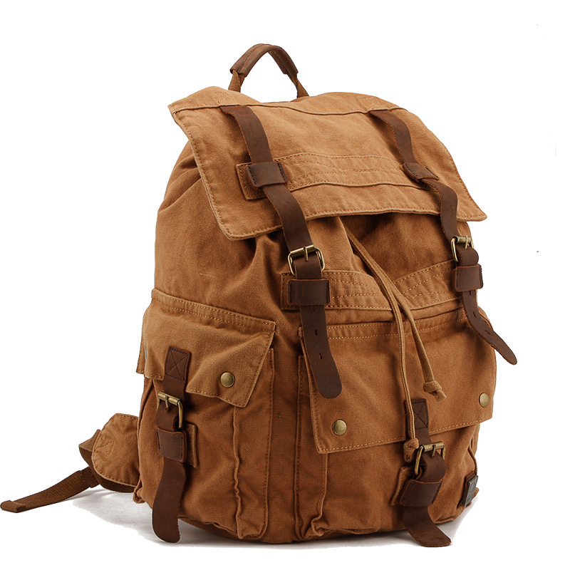 Retro men canvas backpack men s bag Europe and the United States brand shoulder bag leisure Guangzhou men s men s shoulder ba ...