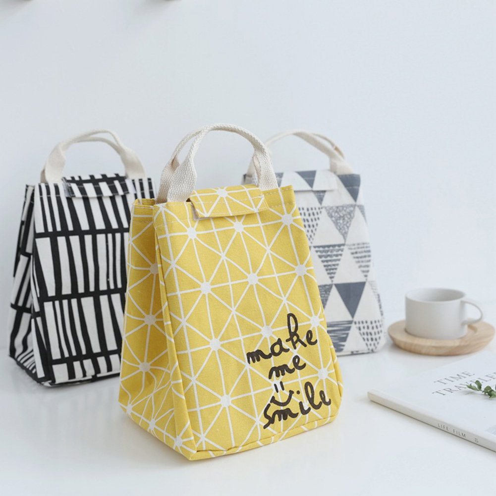 Geometric Linen Thermal Bag Insulated Thermal Cooler Waterproof Beach Lunch Bag Food Picnic Bolsa Termica students lunch bag
