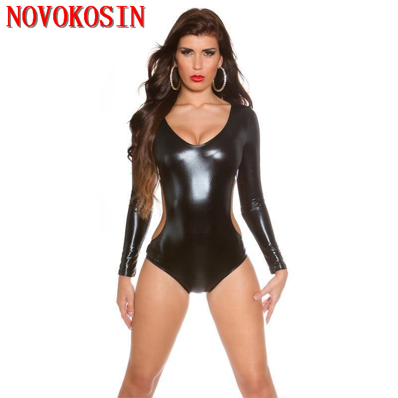 XX106 2018 Faux Leather Sexy Teddies Underwear Black PU Backless Long Sleeves Bodysuit Night Club Women DS Sexy Costumes ...