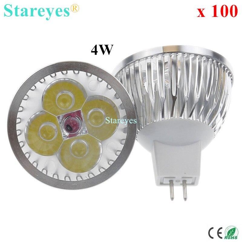 100 Pcs Dimmable MR16 4W 3W AC DC12V LED Light LED Spotlight lamp Downlight LED bulb