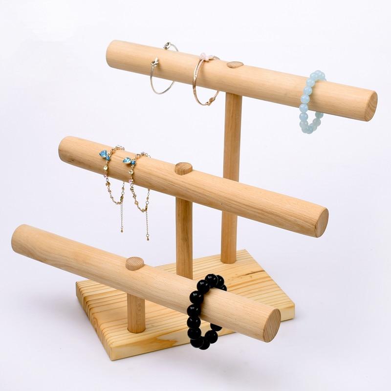 3 Layer Bracelets Pendant Display T Bar Wood Bracelets Display ...