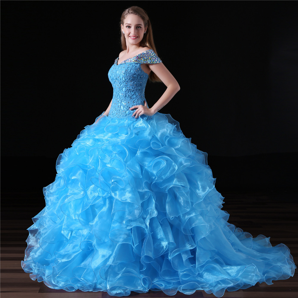 GSBRIDAL Lake Blue Off the Shoulder with Short Sleeves Ball Puffy Ruffle Skirt Quinceanera Dresses