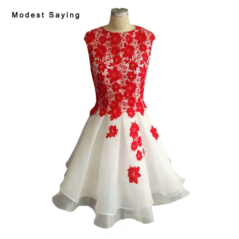 Elegant Not Sheer Ivory And Red Ball Gown Lace Cover Bodice Short Cocktail Dresses 2018 Women Mini Party Prom Gown Robe Cocktail