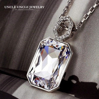 FREE SHIPPING 18K White Gold Plated High Quality Rectangle Austrian Crystal Shinning Queen Design Luxury Lady