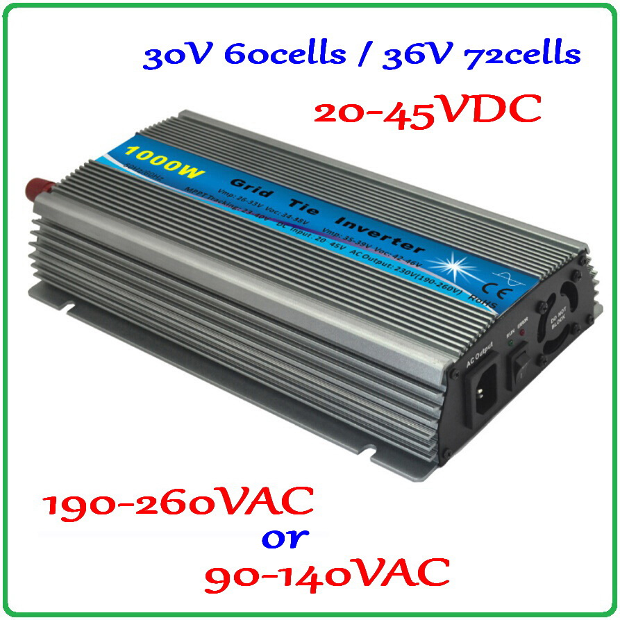 1000W 36V-72cells or 60cells-30V Grid tie inverter 20-45VDC to AC90V-140V or 190V-260V MPPT solar wind power on grid inverter free shipping 600w wind grid tie inverter with lcd data for 12v 24v ac wind turbine 90 260vac no need controller and battery