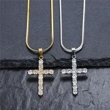 Cross Necklace Stainless Steel AAA Zircon Pendant Men Iced CZ Pendants Chain Fashion Hip Hop Jewelry