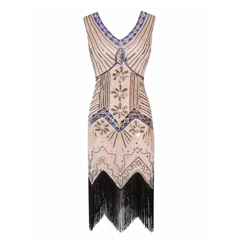 2019 Women's 1920s Vintage Fringe Flapper Dress Dazzling Sequins Beaded Great Gatsby Costume Roaring 20s Party Retro Dress