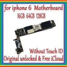 Для iphone 6 4,7 дюймов материнская плата 16 Гб/64 Гб/128 ГБ, оригинальная разблокированная материнская плата для iphone 6 без Touch ID с полным чипом