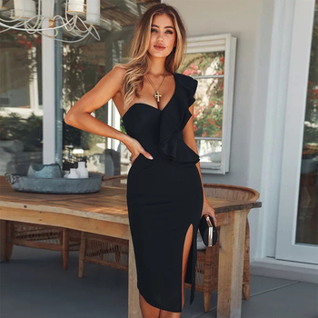 70d6321f340 Seamyla сексуальное Бандажное Платье женское 2019 новая Клубная одежда  оборки на одно плечо черные платья облегающее