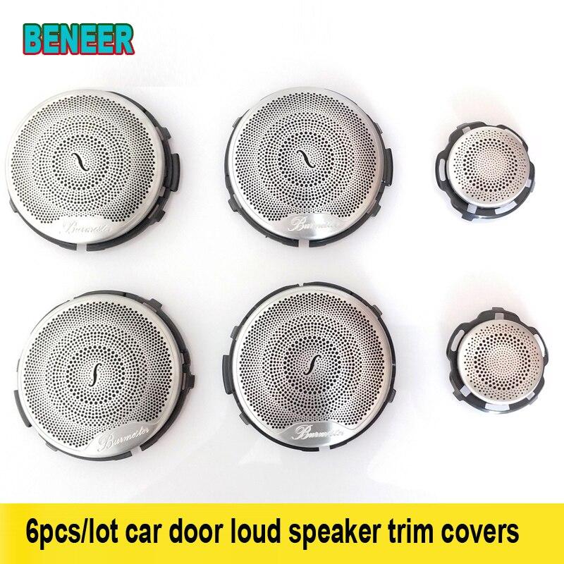 6pcs audio speaker car door loud speaker trim covers for Mercedes Benz AMG 15 16 E