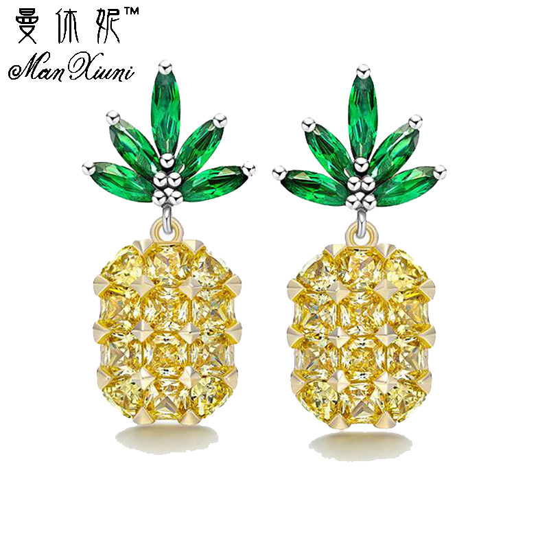 Manxiuni Stud Earrings for Women Cute Pineapple Earings with Stones Silver Color Brinco Zircon Earring Oorbellen
