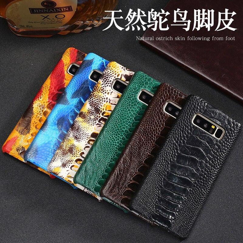 Étui pour samsung A70 en peau d'autruche naturelle de luxe avec étui arrière en cuir véritable pour Note10 9 8 S10 S9 A9 A8 J7 - 6
