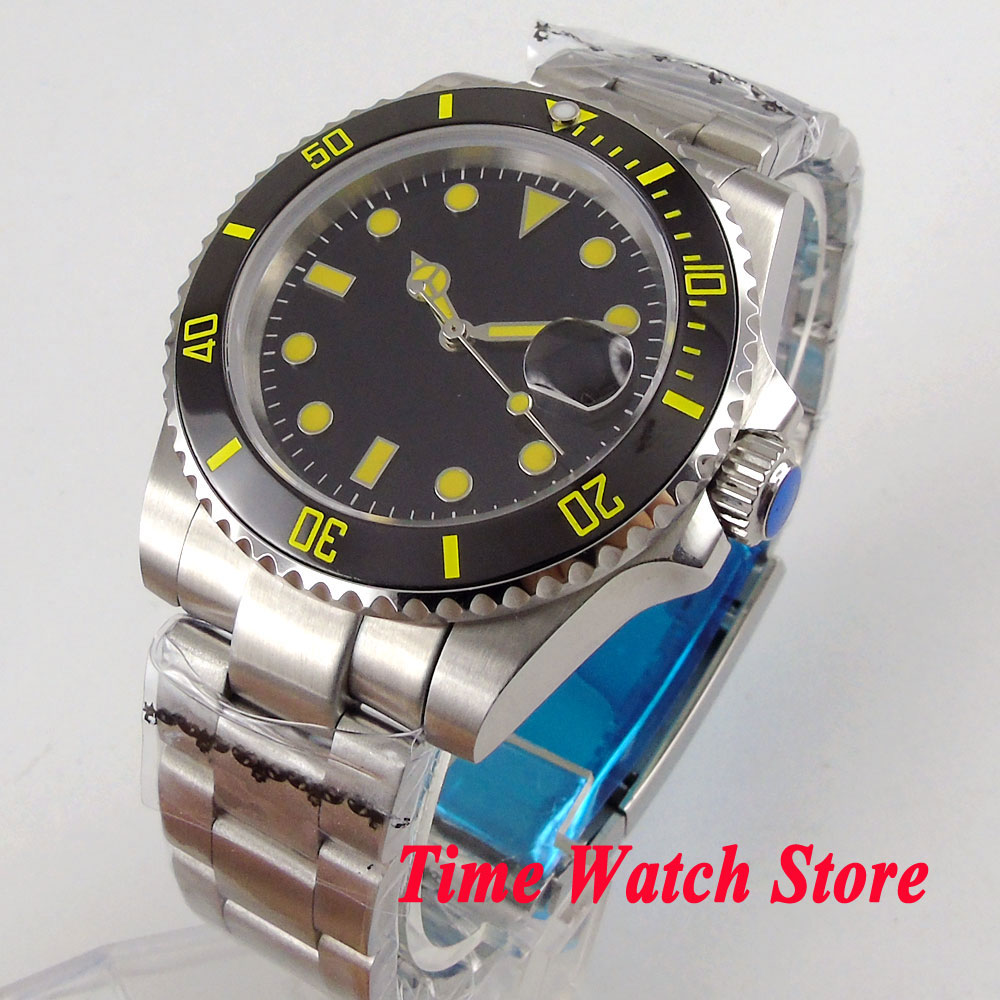 40mm men's watch black dial luminous saphire glass Ceramic Bezel MIYOTA Automatic movement wrist watch men 107