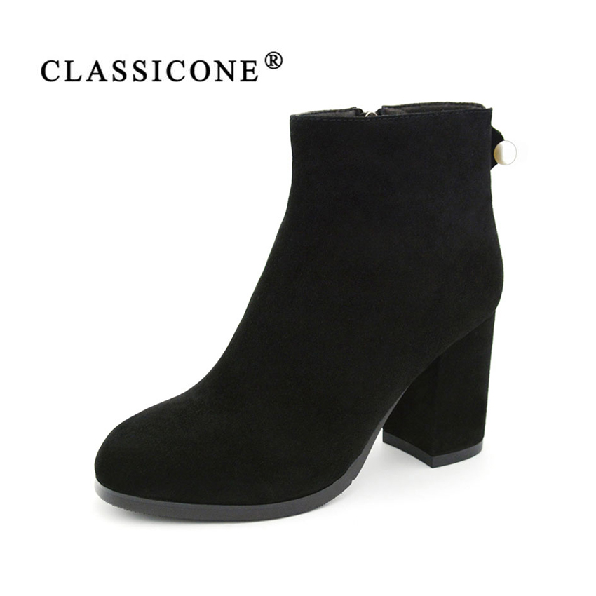 CLASSICONE women' shoes boots winter genuine leather suede warm wool high heels fur snow ankle boots shoes women brand fashion salu winter fashion sheep suede boots classic ankle shoes genuine leather wool fur warm square high heel women boots